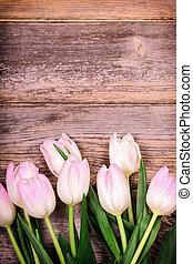 tulpen, aus, altes , holz