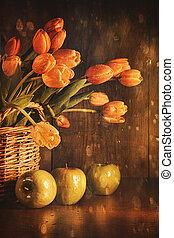 tulpen, gefühl, weinlese, fruehjahr
