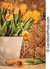 tulpen, grunge, hintergrund, weinlese