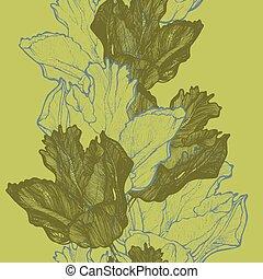 tulpen, lente, ziek, seamless, vector, achtergrond, hand-drawing.