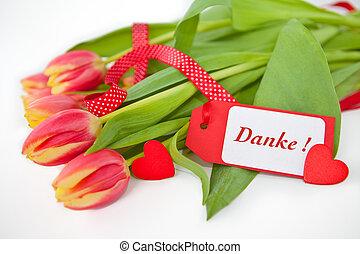 tulpen, mit, a, danken, you-note