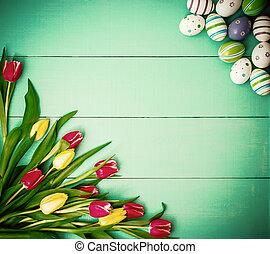 tulpen, mit, bunte, ostereier