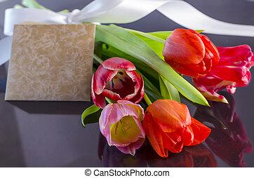 tulpen, mit, grüßen karte