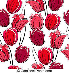 tulpen, model, seamless, rood