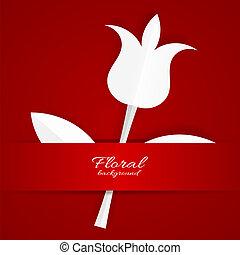 tulpenblüte, weißes, papier, roter hintergrund