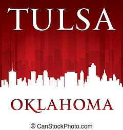 tulsa, fond, horizon, ville oklahoma, rouges, silhouette