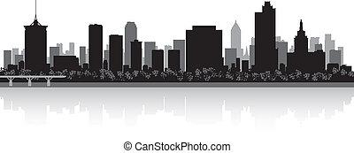 tulsa, miasto skyline, sylwetka