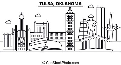Tulsa, Oklahoma architecture line skyline illustration. Linear vector cityscape with famous landmarks, city sights, design icons. Landscape wtih editable strokes