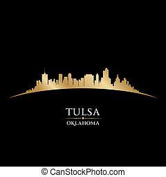 Tulsa Oklahoma city skyline silhouette black background - ...