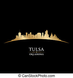 Tulsa Oklahoma city skyline silhouette black background -...