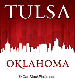 Tulsa Oklahoma city skyline silhouette red background
