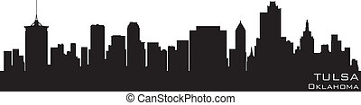 Tulsa, Oklahoma skyline. Detailed vector silhouette