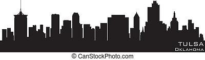 tulsa, oklahoma, skyline., detalhado, vetorial, silueta