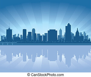 Tulsa, Oklahoma skyline with reflection in water