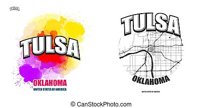 Tulsa, Oklahoma, two logo artworks
