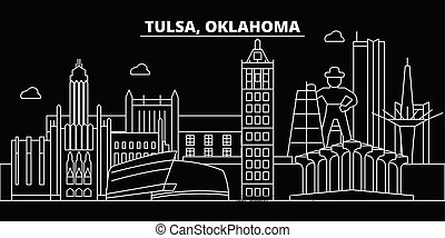 Tulsa silhouette skyline. USA - Tulsa vector city, american linear architecture, buildings. Tulsa travel illustration, outline landmarks. USA flat icons, american line banner