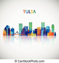 Tulsa skyline silhouette in colorful geometric style.