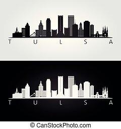 Tulsa usa skyline and landmarks silhouette