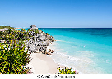 Tulum beach - Beautiful beach with turquoise water in Tulum...