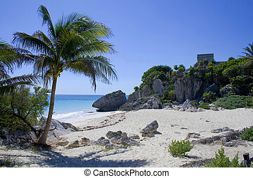 Tulum Beach - Tulum beach at the historic ruins of the...