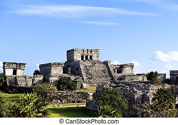 tulum, célèbre, ruines, archéologique, mexique