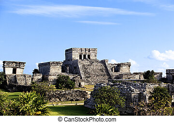 tulum, famosos, ruínas, arqueológico, méxico