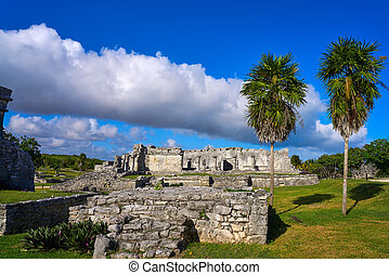 Tulum Mayan city ruins in Riviera Maya at the Caribbean of...