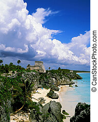 Tulum mayan ruins and beach,Mexico.