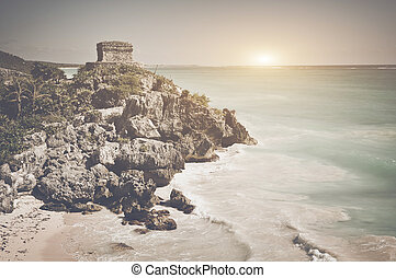 Tulum Mayan Ruins in Mexico with Retro Instagram Style Filter