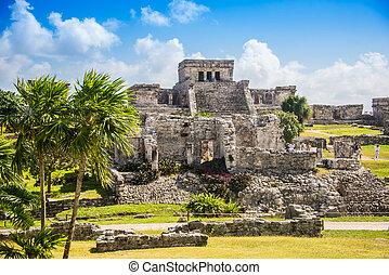 Tulum Mayan Ruins, Traveling Caribbean, Quintana Roo,...