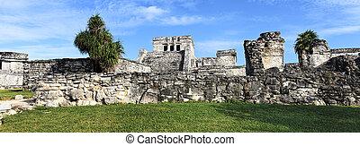 tulum, panoramique, ruines, vue