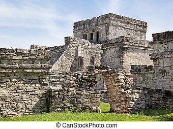 Tulum - Ruins of the Mayan fortress and temple near Tulum,...