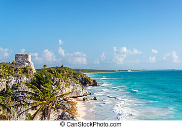 Tulum Ruins and Caribbean Sea