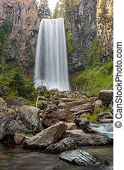 Tumalo Falls in Central Oregon Closeup