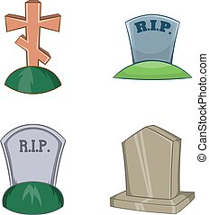 tumba, icono, conjunto, caricatura, estilo