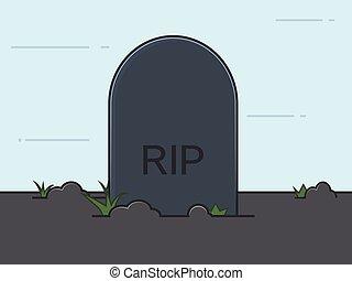 tumba, línea plana, illustration., cementerio, vector.
