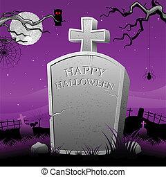 tumba, piedra, en, noche de halloween