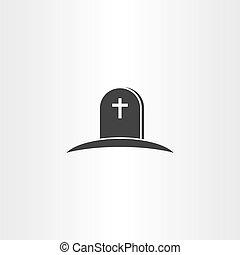 tumba, vector, muerte, icono, símbolo
