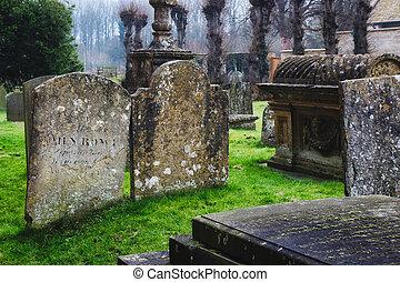 tumbas, y, lápidas, en, un, típico, iglesia inglesa, cementerio