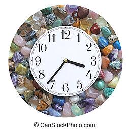 Tumbled Crystal Stone Border Clock