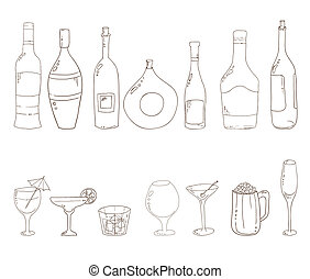 Tumblers set for alcohol drinks and coctails. Sketch of wine bottles. Wine, martini, cognac, cherry, beer, champagne, grappa glasses.