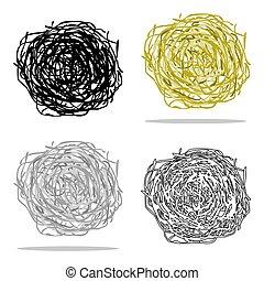 tumbleweed, アイコン, cartoon., singe, 西部, アイコン, から, ∥, アメリカ西部地方, cartoon.