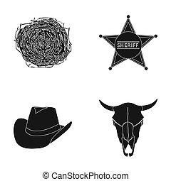 tumbleweed, sheriff's, stern, hut, stiers, skull., westen, westen, satz, sammlung, heiligenbilder, in, schwarz, stil, raster, symbol, haben abbildung lager, web.