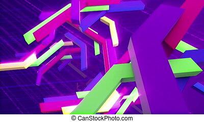 """Tumbling colorful interlaced techno bars"" - ""Cheery 3d..."
