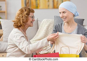 tumeur, réception, survivant, cadeau