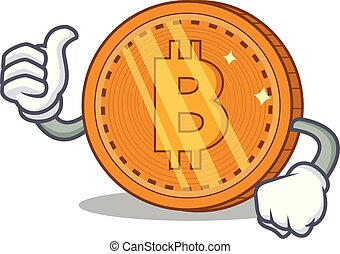 tummar uppe, bitcoin, mynt, tecken, tecknad film