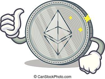 tummar uppe, ethereum, mynt, tecken, tecknad film