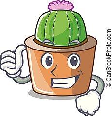 tummar uppe, tecknad film, stjärna, kaktus, planterar, hos, kaktus, lantgård