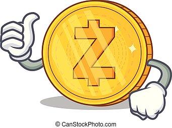 tummar uppe, zcash, mynt, tecken, tecknad film