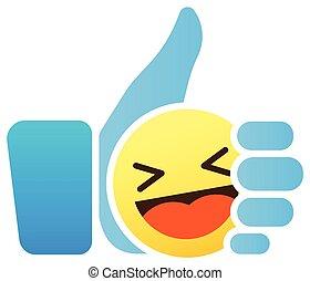 tumme, lik, smiley, uppe, ikon, emoticon, emoji